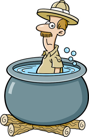Cartoon illustration of an explorer in a cooking pot