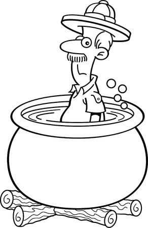 boiling: Black and white illustration of an explorer in a cooking pot