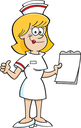 Cartoon illustration of a nurse holding a clipboard and giving thumbs up