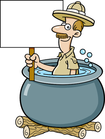 Cartoon illustration of an explorer in a cooking pot holding a sign