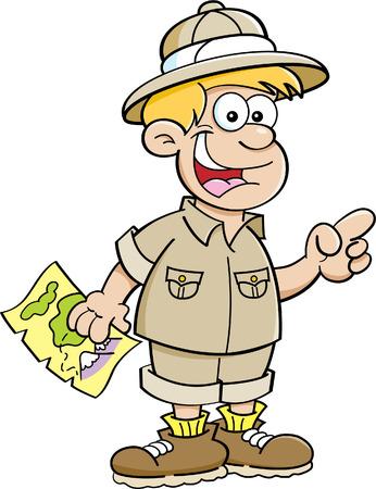 chico: Ilustración de dibujos animados de un niño vestido como un explorador y apuntando