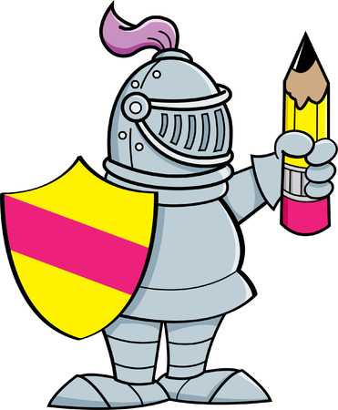 Cartoon illustration of a knight holding a shield and a pencil