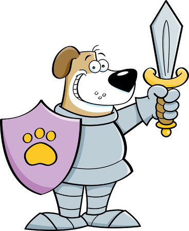 Cartoon illustration of a dog wearing a suit of armor