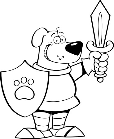 Black and white illustration of a dog wearing a suit of armor