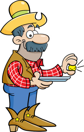 Cartoon illustration of a prospector holding a gold nugget