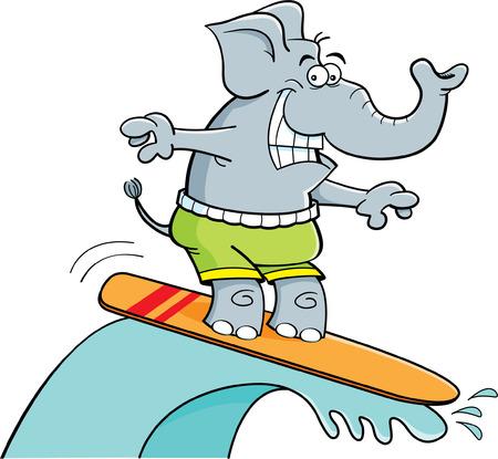 Cartoon illustration of a surfing elephant