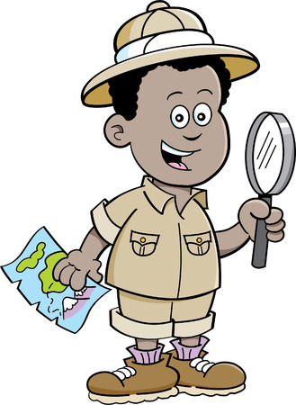 explorer: Cartoon illustration of a African boy dressed as an explorer