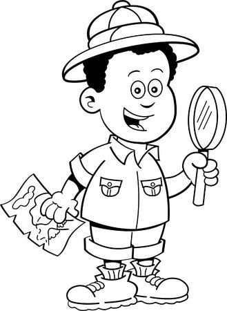 Black and white illustration of a African boy dressed as an explorer  Ilustração