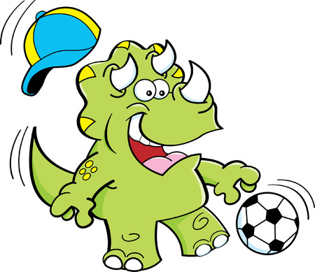 triceratops: Cartoon illustration of a triceratops playing soccer