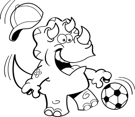 triceratops: Black and white illustration of a triceratops playing soccer