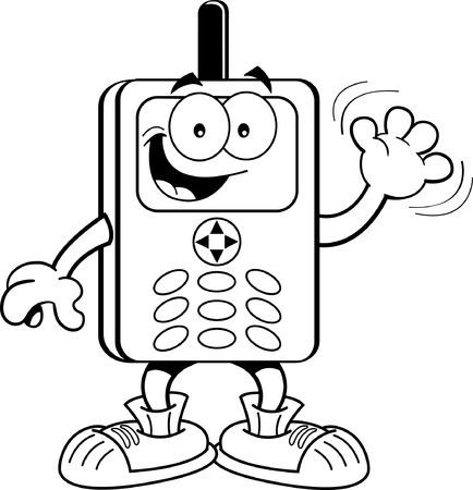 telefono caricatura: Ilustración en blanco y negro de un teléfono celular que agita Vectores