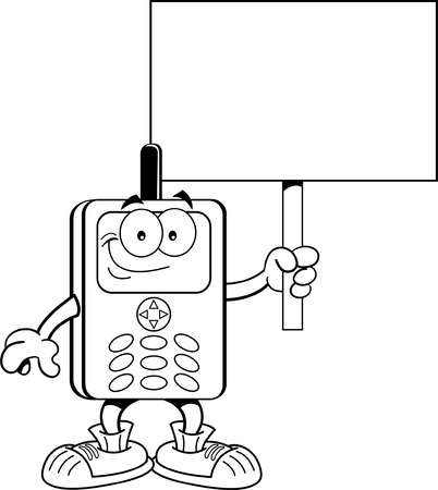 phone button: Black and white illustration of a cell phone holding a sign  Illustration