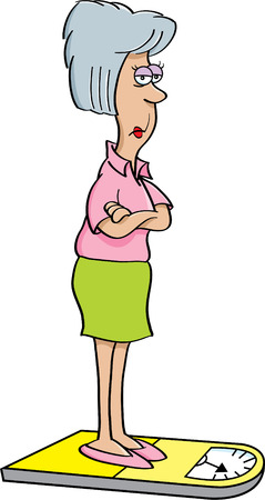 weight scale: Cartoon illustration of an angry women on a scale