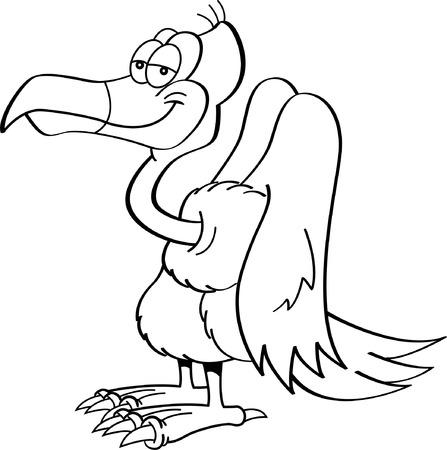 buzzard: Black and white illustration of a buzzard