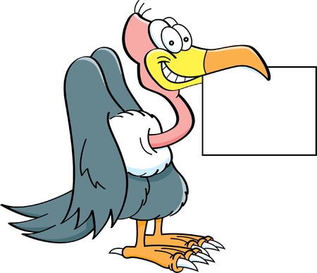 Cartoon illustration of a buzzard holding a sign