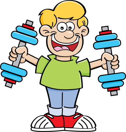 Cartoon illustration of a boy exercising with weights  Illustration