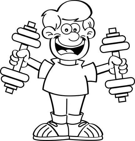Black and white illustration of a boy exercising with weights