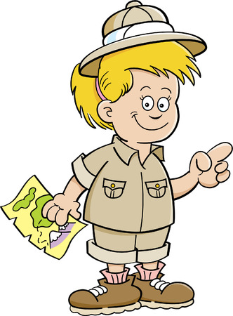 Cartoon illustration of a girl explorer holding a map and pointing