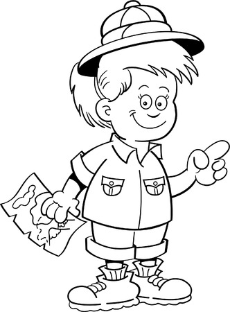 Black and white illustration of a girl explorer holding a map and pointing