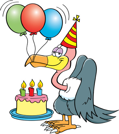 buzzard: Cartoon illustration of a buzzard wearing a party hat with a birthday cake and balloons