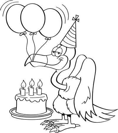 smirking: Black and white illustration of a buzzard wearing a party hat with a birthday cake and balloons