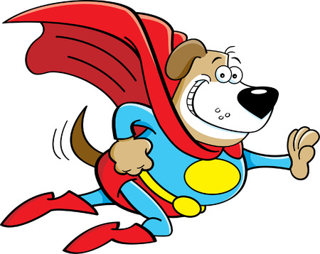Cartoon illustration of a dog dressed as a super hero  Vectores