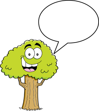 bijschrift: Cartoon illustratie van een boom met een bijschrift ballon Stock Illustratie