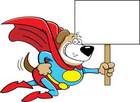 dog costume: Cartoon illustration of a superhero dog with a sign