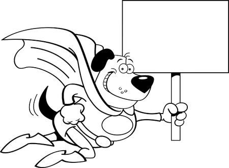 Black and white illustration of a superhero dog with a sign  Vector