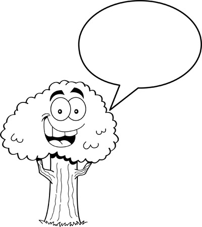 caption: Black and white illustration of a tree with a caption balloon