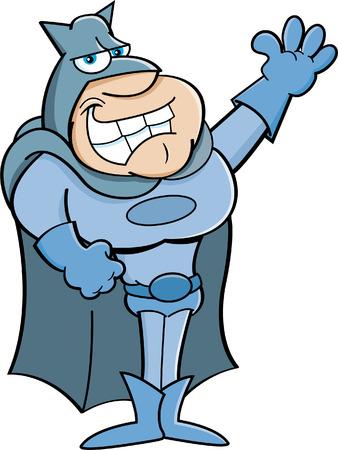 vendicatore: Illustrazione del fumetto di un eroe agitando Vettoriali