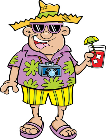 Cartoon illustration of a tourist holding a drink