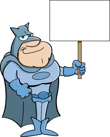 avenger: Cartoon illustration of a super hero holding a sign.