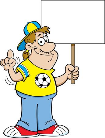 soccer fan: Cartoon illustration of a soccer fan holding a sign. Illustration