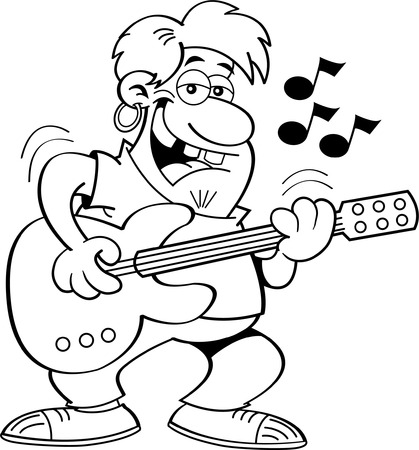 Black and white illustration of a man playing a guitar.