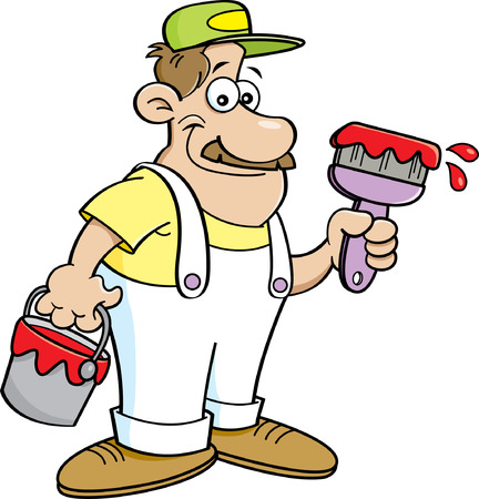 """""""paint can"""": Cartoon illustration of a painter holding a paint can and a paint brush."""