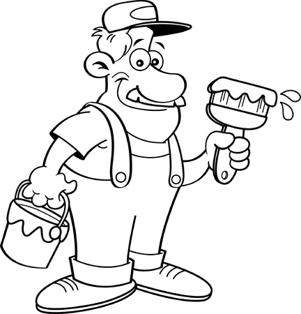"""""""paint can"""": Black and white illustration of a painter holding a paint can and a paint brush."""