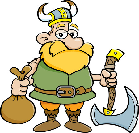 pillage: Cartoon illustration of a Viking holding an axe and a sack.