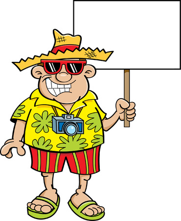 Cartoon illustration of a tourist holding a sign. Ilustracja