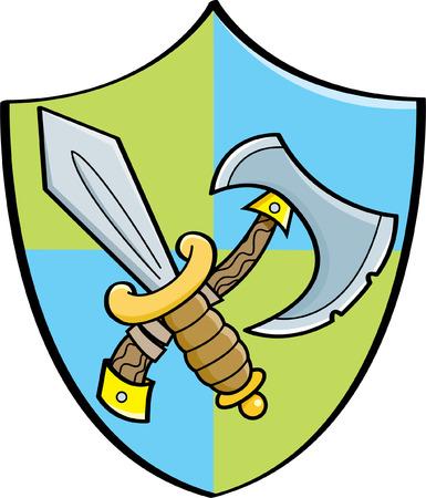 Cartoon illustration of a sword and axe on a shield. Illusztráció