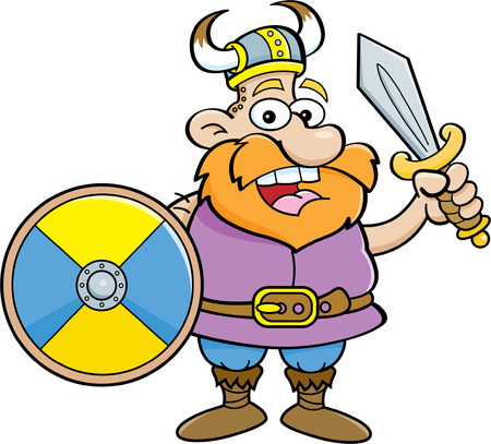 norseman: Cartoon illustration of a viking holding a shield and a sword.