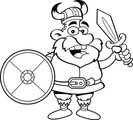 Black and white illustration of a viking holding a shield and a sword.
