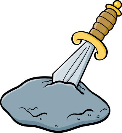 arthur: Cartoon illustration of a sword in a stone. Illustration