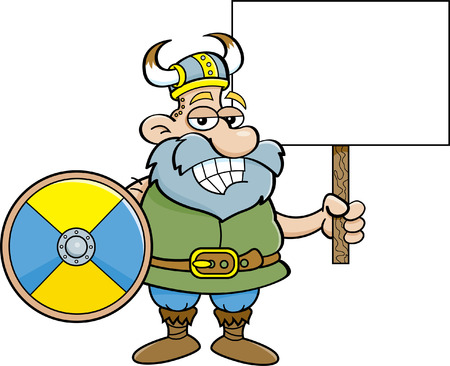 smirking: Cartoon illustration of viking holding a sign and a shield.
