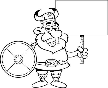 norseman: Cartoon illustration of viking holding a sign and a shield.