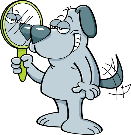 Cartoon illustration of a dog looking into a mirror.