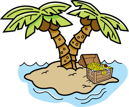Cartoon illustration of an island with palm trees and a treasure chest.