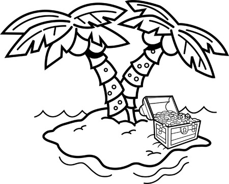 Black and white illustration of an island with palm trees and a treasure chest.