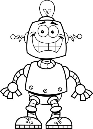 Black and white illustration of a smiling robot