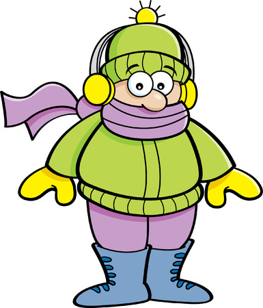 Cartoon illustration of a kid wearing winter clothing.